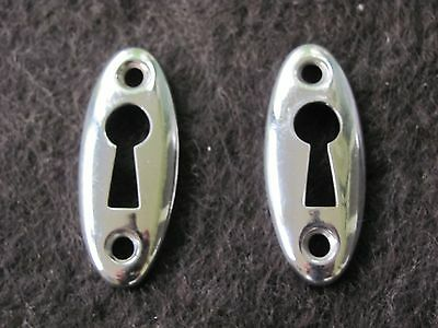 Lot of 2 Thin Bright Chrome Plated Brass Key Hole Covers Door Hardware NOS E