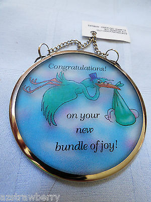 "Baby Congratulations Glass Catchers Stained print Window Hanging 3"" Ornament"