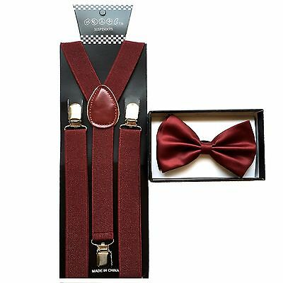 New Burgundy SUSPENDER And BOW TIE Matching Set Tuxedo Classic Fashion Set