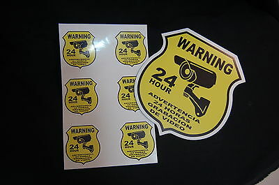 Spanish Warning yard sign + 6 STICKERS Security Home Alarm Video Burglar 24 hr