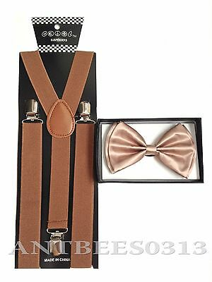 New Brown SUSPENDER And BOW TIE Matching Set Tuxedo Classic Fashion Set