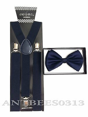 New Navy Blue SUSPENDER And BOW TIE Matching Set Tuxedo Classic Fashion Set
