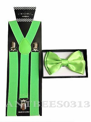 New Neon Green SUSPENDER And BOW TIE Matching Set Tuxedo Classic Fashion Set