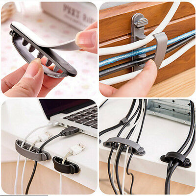 10 Pcs Cord Clips Line Wire USB Charger Cable Holder Desk Tidy Organiser Useful