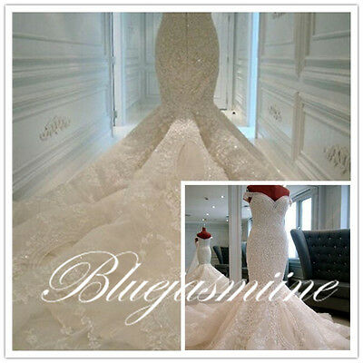 HOT! Mermaid White Ivory Bridal Gown Wedding Dress Custom Size 6 8 10 12 14 16++