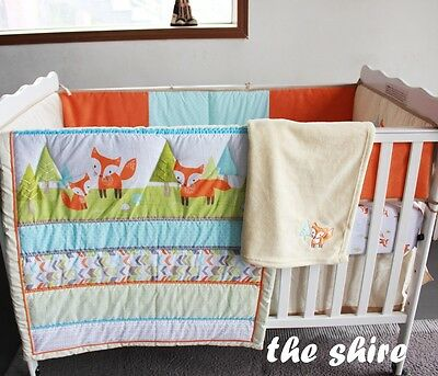 Baby Bedding Crib Cot Quilt Set- NEW 8pcs Quilt Bumper Sheet Dust Ruffle Blanket