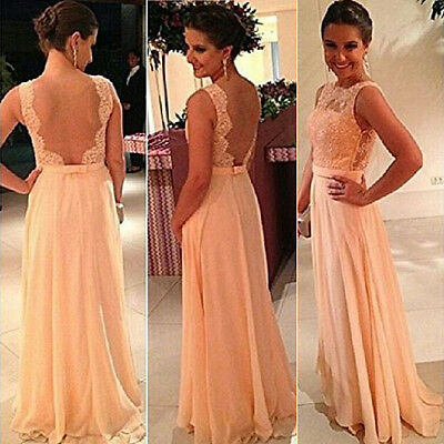 Women Long Formal Prom Cocktail Party Ball Gown Evening Chiffon Bridesmaid Dress