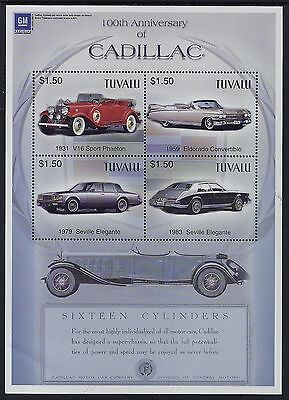 2003 TUVALU 100th ANNIVERSARY OF CADILLAC SHEETLET FINE MINT MNH/MUH