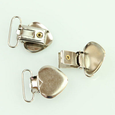 20 Pcs Metal Pacifier Suspender Clips Holders Ribbon/Project Craft Heart Shape