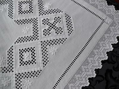 Antique Tablecloth Hand Embroidered Hardanger with Crochet Lace Trim 43""