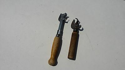 Two Vintage Kitchenware Can Bottle Openers Wood Handles (A&J and Bull Dog)