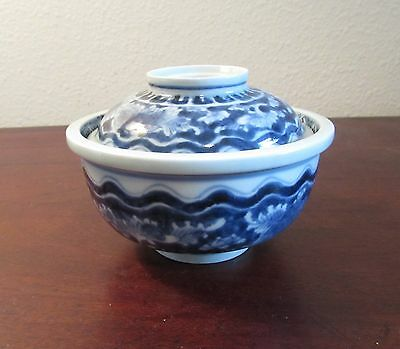 Antique Japanese Imari blue and white rice bowl covered Arita 19th