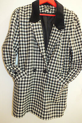 Vintage Black Winter Warm Wool Houndstooth  Check Plaid Coat Jacket