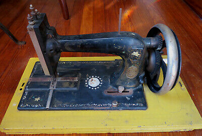 ANTIQUE CORUNNA HAND CRANK SEWING MACHINE with Mother Of Pearl Inlay