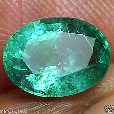 Stunning Zambia Natural Emerald Gem for Ring 1.68ct Oval Cut Not Enhanced