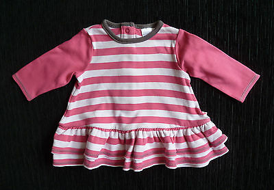 Baby clothes GIRL 0-3m long sl cotton pink stripe frill dress 2nd item post-free