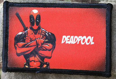 Deadpool Red Background Morale Patch Tactical ARMY Hook Military USA Badge Flag