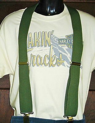 Olive Green Suspenders Braces Sz XL NEW