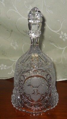"""Large Crystal Clear Dinner Bell With Etched Frosted Flowers/heart Pattern  8.5"""""""