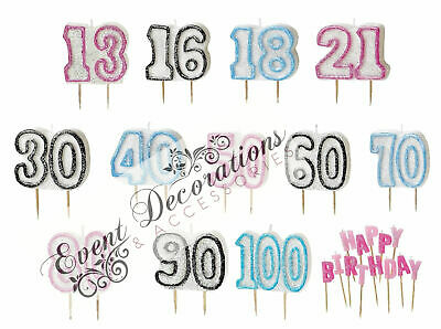 HAPPY BIRTHDAY GLITZ 13-60th CANDLES CAKE PARTY DECORATION,3 COLOURS - ALL AGES!