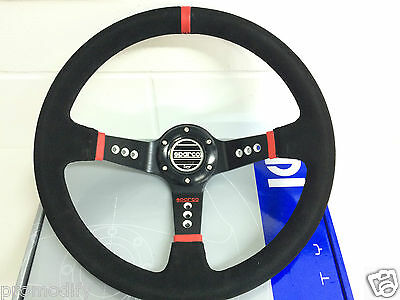 350mm Suede Leather Deep Dish Steering Wheel OMP MOMO NARDI RED Strip Drifting