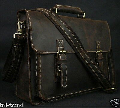 "Vintage Crazy Horse Leather Men Briefcase Business Bag 15""laptop Bag Messenger"