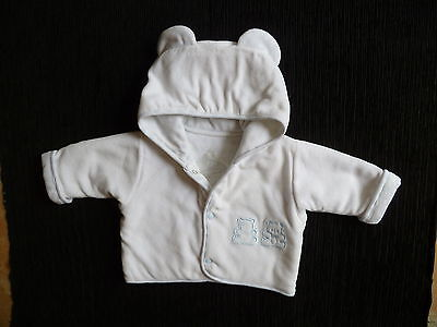 Baby clothes BOY 3-6m Dani white/blue velour padded jacket/coat hood poppers