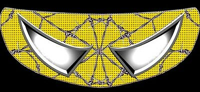 Skullskins Motorcycle Helmet Visor Shield Sticker - Wired Web Yellow