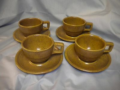Monmouth Mojave Pottery~Brown Speckled Cups And Saucers~ Set Of 4 ~Usa