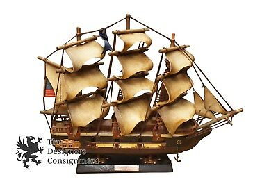 """USS CONSTITUTION 15"""" Scaled Wood Model Ship American Historic Sailing Boat Vtg"""