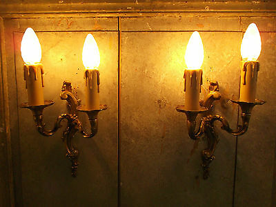 French exquisite a pair of bronze wall light sconces  vintage finely detail