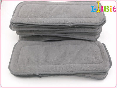 (Pack of 12) Bamboo Charcoal Liner Inserts 4 layers For Baby Cloth Diapers