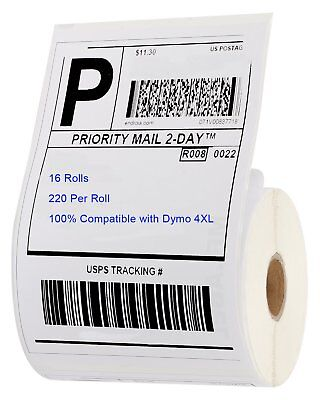 16 Rolls of 220 4x6 Thermal Labels Compatible Dymo 4XL LabelWriter 1744907