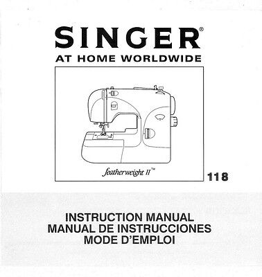 Singer 118-FEATHERWEIGHT-II Sewing Machine Owners Manual Reprint