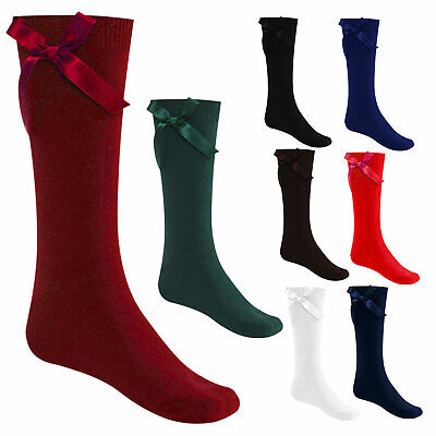 3 Pairs - Girls Ankle High School Socks with Bow - Uniform Functions Socks