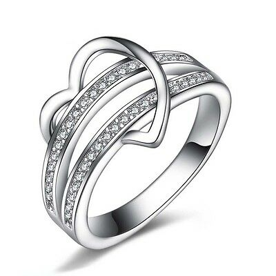 Silver Plated Wedding Heart Ring Finger Band Jewerly Party Size 5-11 Hot Sale R