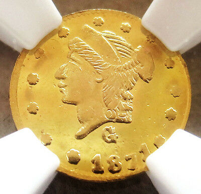 1871 G California Fractional Gold Round 25 Cents Bg 838 Ngc Mint State 63 Pl