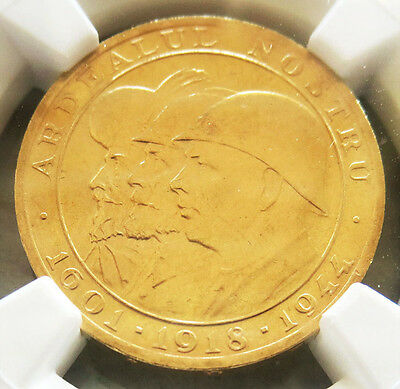 1944 Gold Romania 20 Lei Three Kings World War Ii Issued Coin Ngc Mint State 63