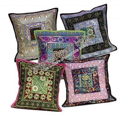 10 Traditional Embroidered Sequin Throw USA Pillow Cushion Covers Wholesale Lot
