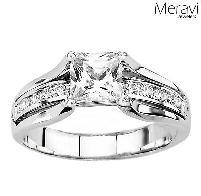 925 Sterling Silver Women's Wedding Band Princess AAA CZ Bridal Engagement Ring