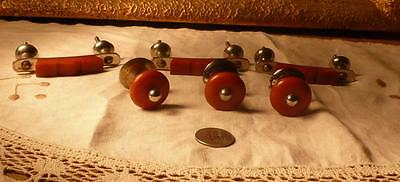 6 art deco TESTED bakelite metal Pull handles knobs 206 grams (s12232)