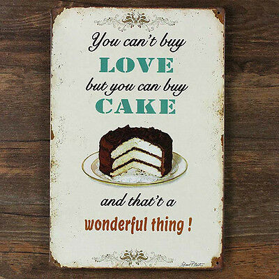 Love Cake Metal Drawing Retro Plaque Paint Pub Cafe Poster Tin Sign Wall Decor