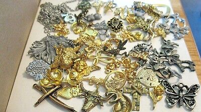 60 Piece Lot Vintage Assorted Findings & Chains Crosses Horseshoes #533