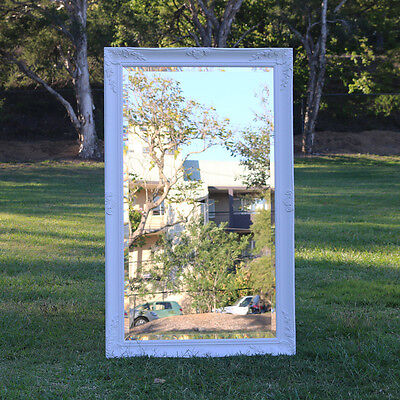 Europe palace style Embossed Wall Mirror White Wooden frame 112cm x 70cm