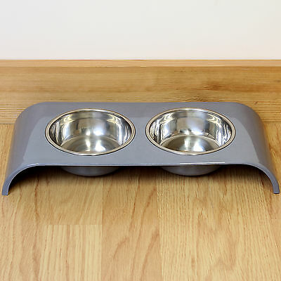 Grey Double Stainless Steel Cat Bowl Food/Water/Biscuits Twin Feeding Dish Stand