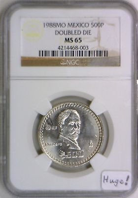 1988 MO Mexico 500P Doubled Die NGC MS-65; Huge!