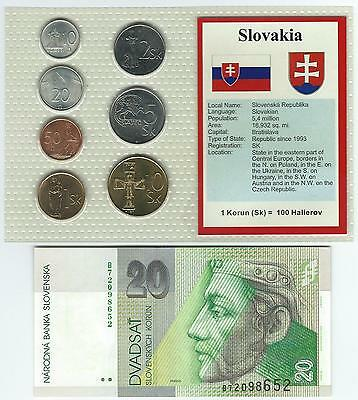 Slovakia 7 Coin And Banknote Unc Set