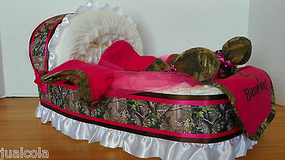 Girl Fuschia Camo Big Diaper Bassinet Loaded Gift Basket Baby Shower Centerpiece