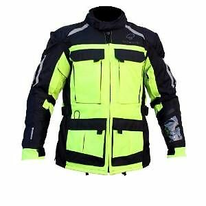 Motorcycle Jacket Black Champion Textile  Fluorescent Hi Visibility S To 5Xl