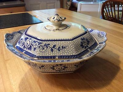Antique Burgess & Leigh Burleigh Ware Blue and White Covered Bowl 1906